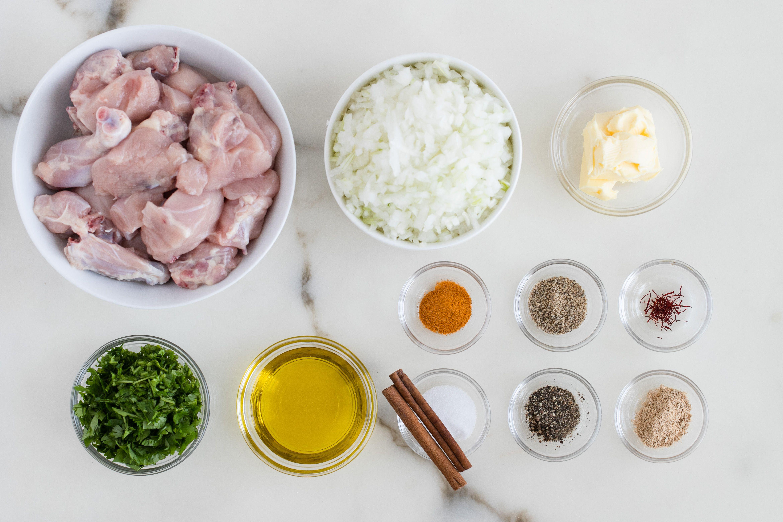 Ingredients for Moroccan saffron chicken