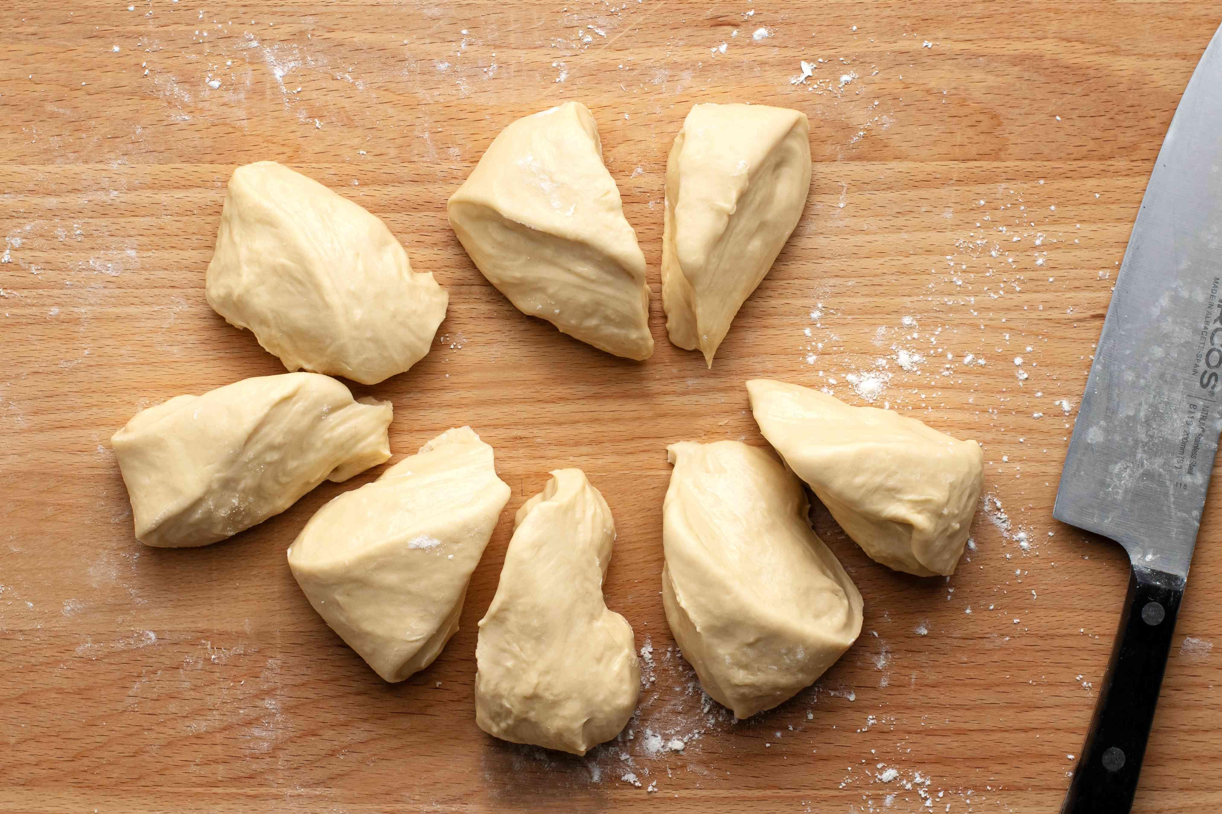 dough cut into pieces
