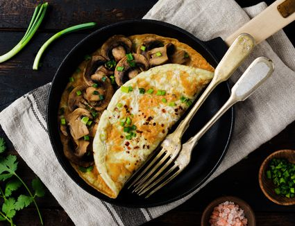 Omelet in a nonstick pan