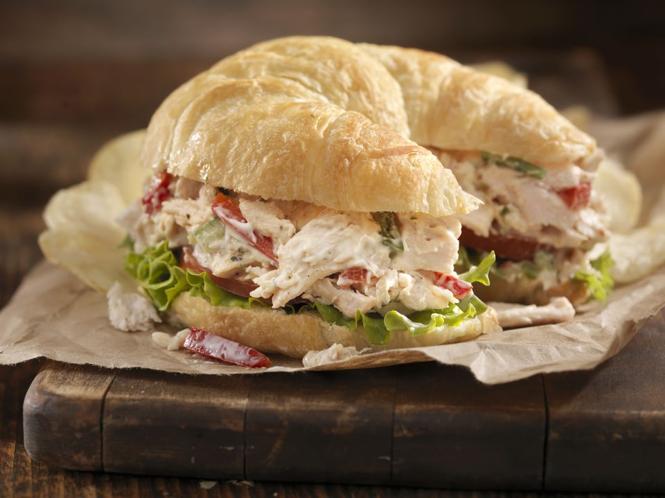 Creamy chicken salad on a croissant