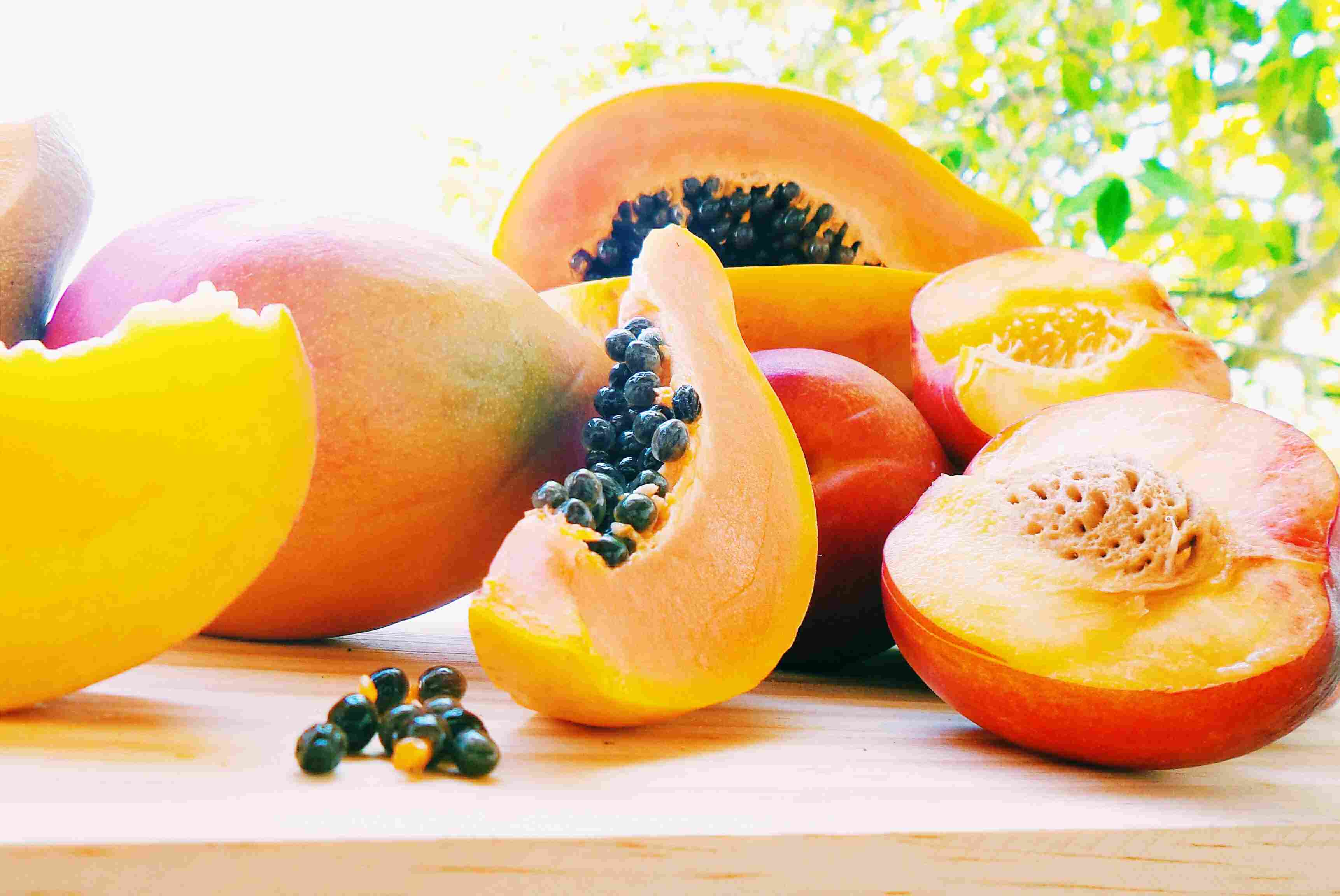 Papaya front and center in a medley of fresh fruits