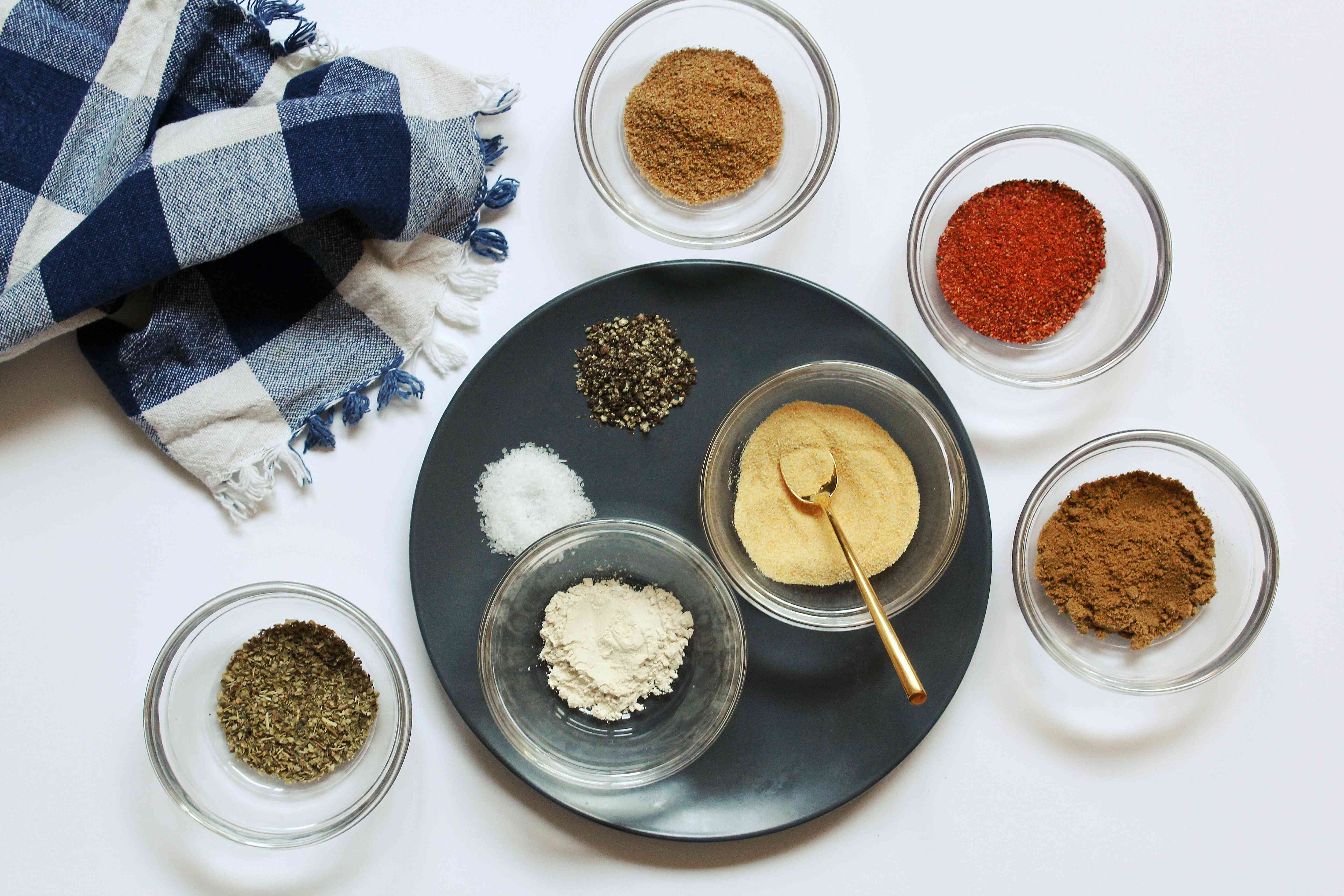 ingredients for homemade sazon seasoning