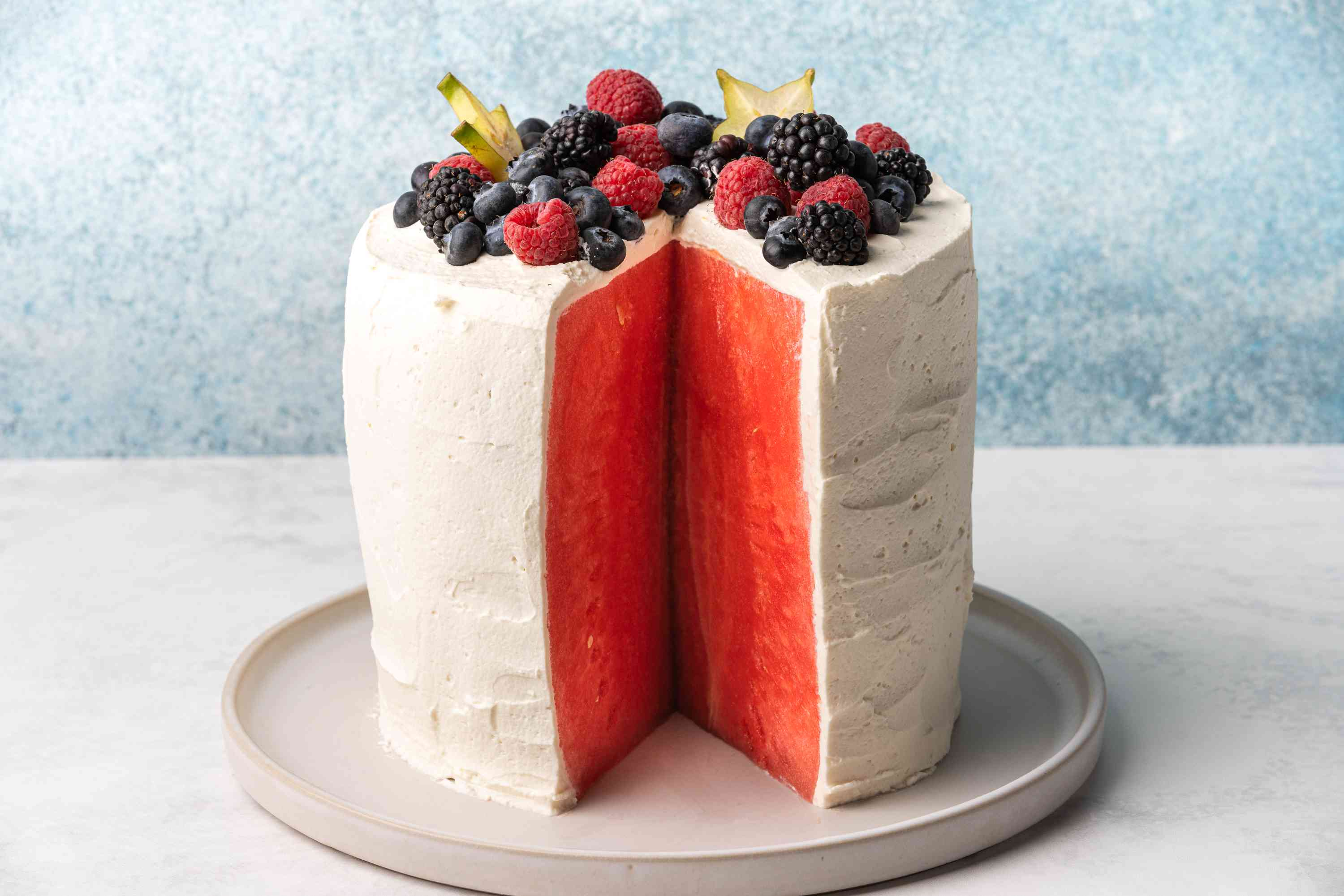 Watermelon Cake with a slice cut out