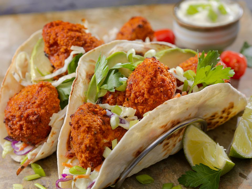 Crispy Baked Buffalo Wing Cauliflower Tacos