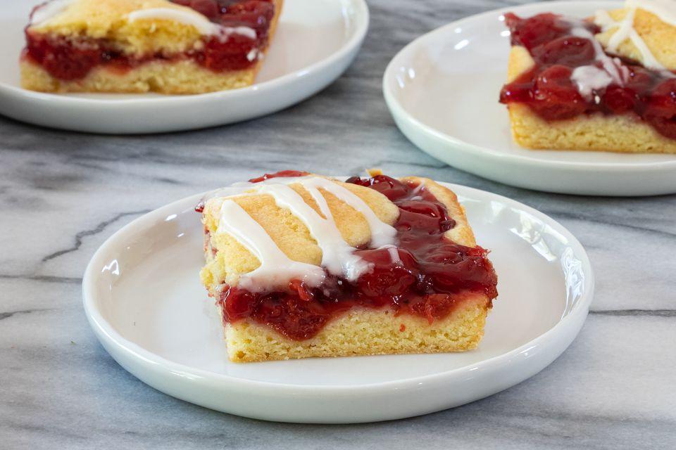 dessert plates with cherry pie bars