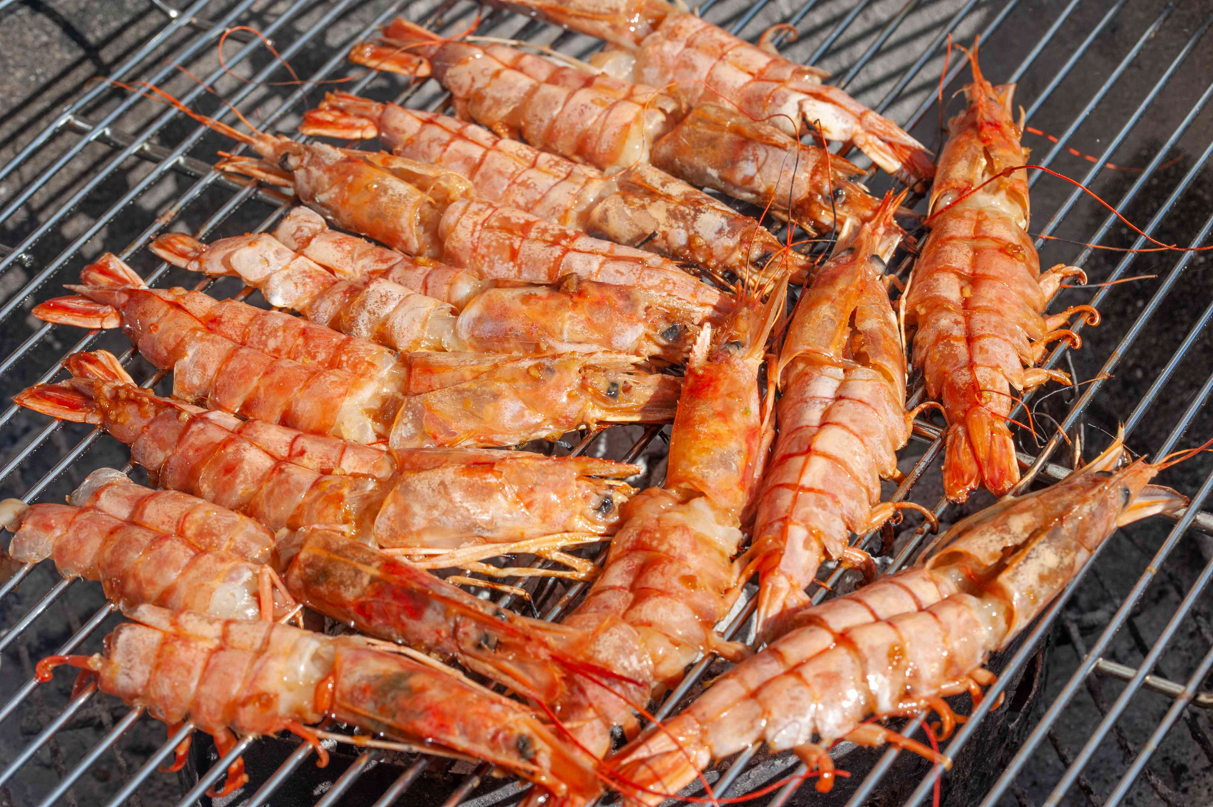 Prawns on the grill