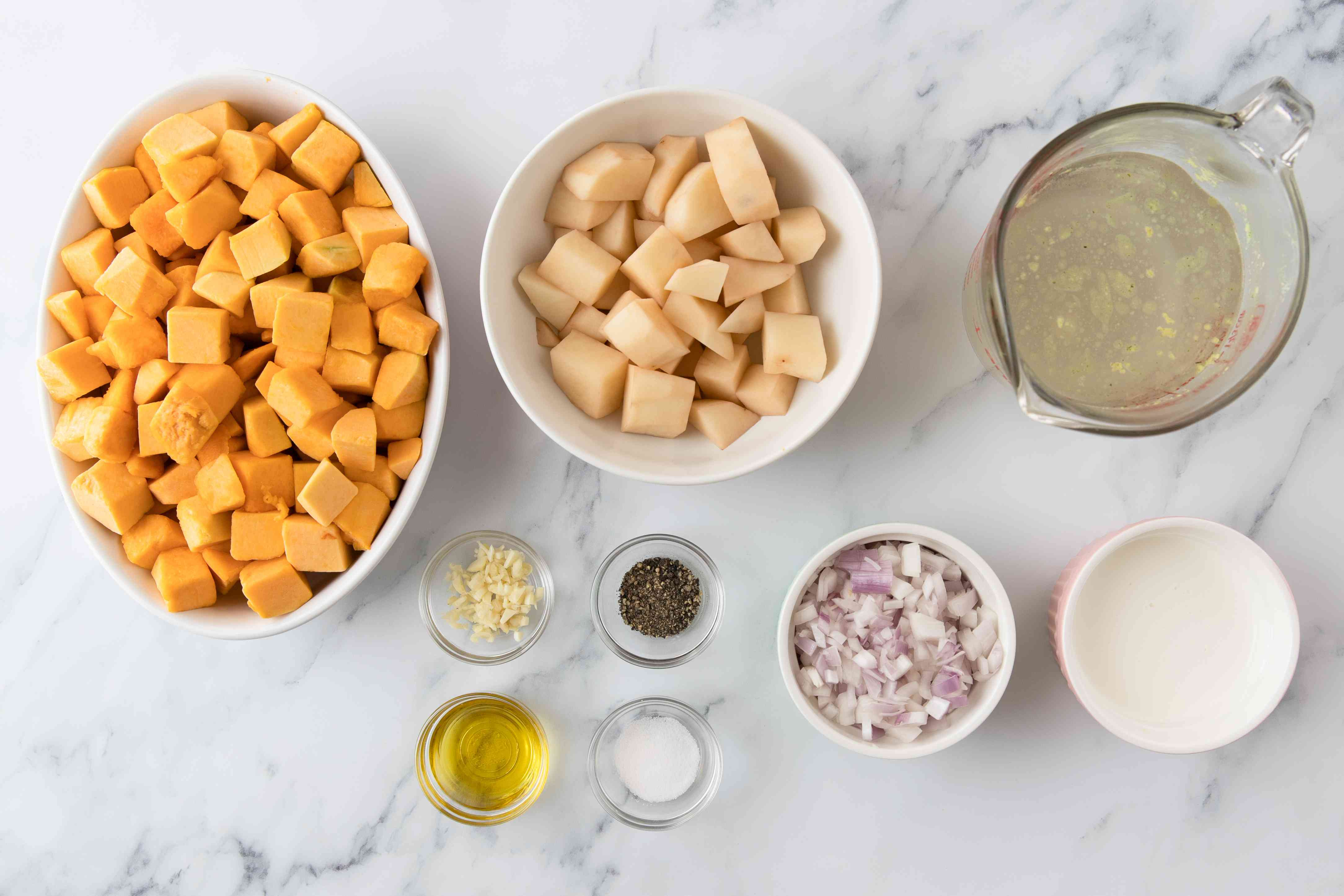 Ingredients for traditional french pumpkin soup