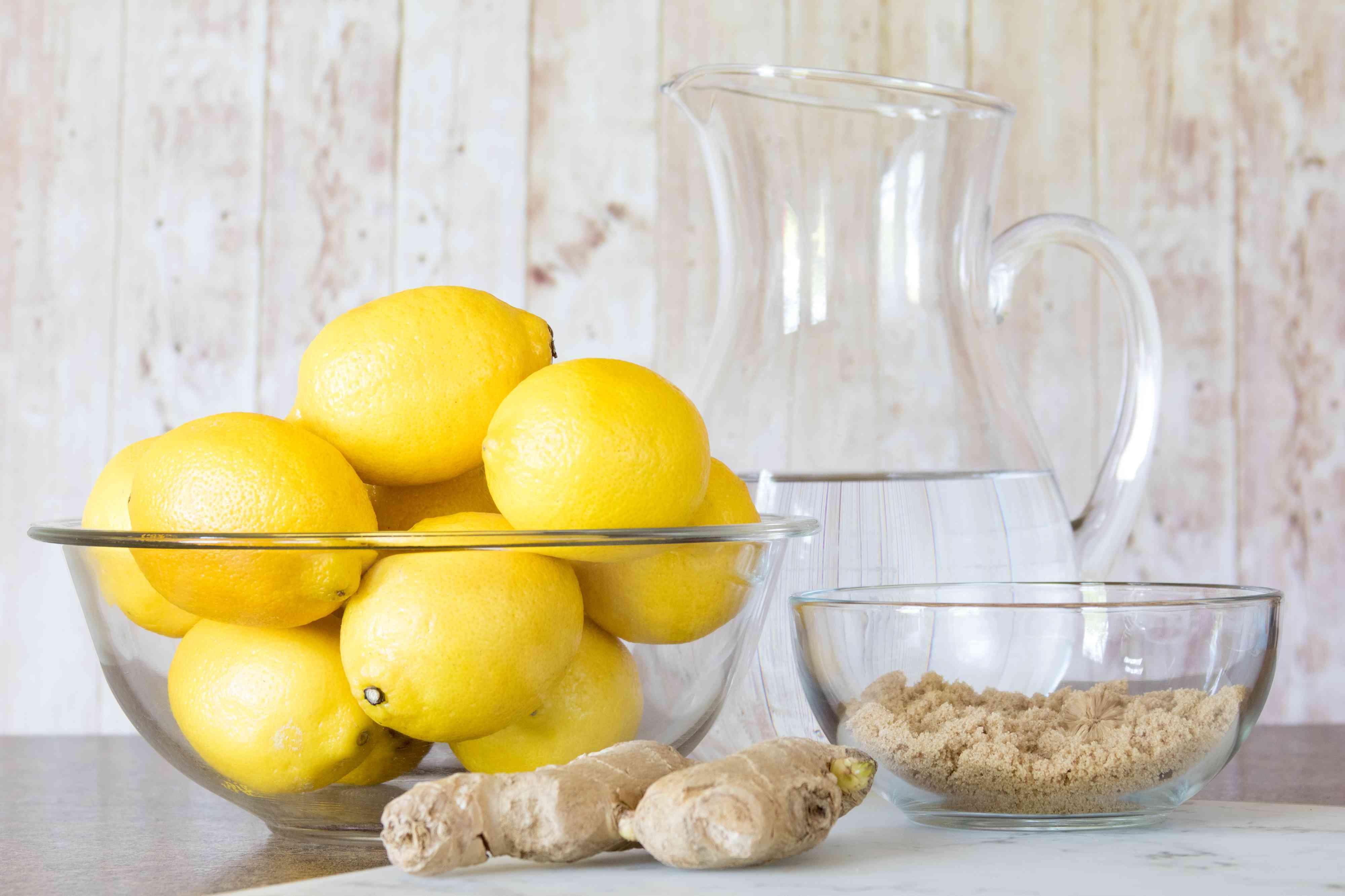 Ingredients for Homemade Ginger Lemonade