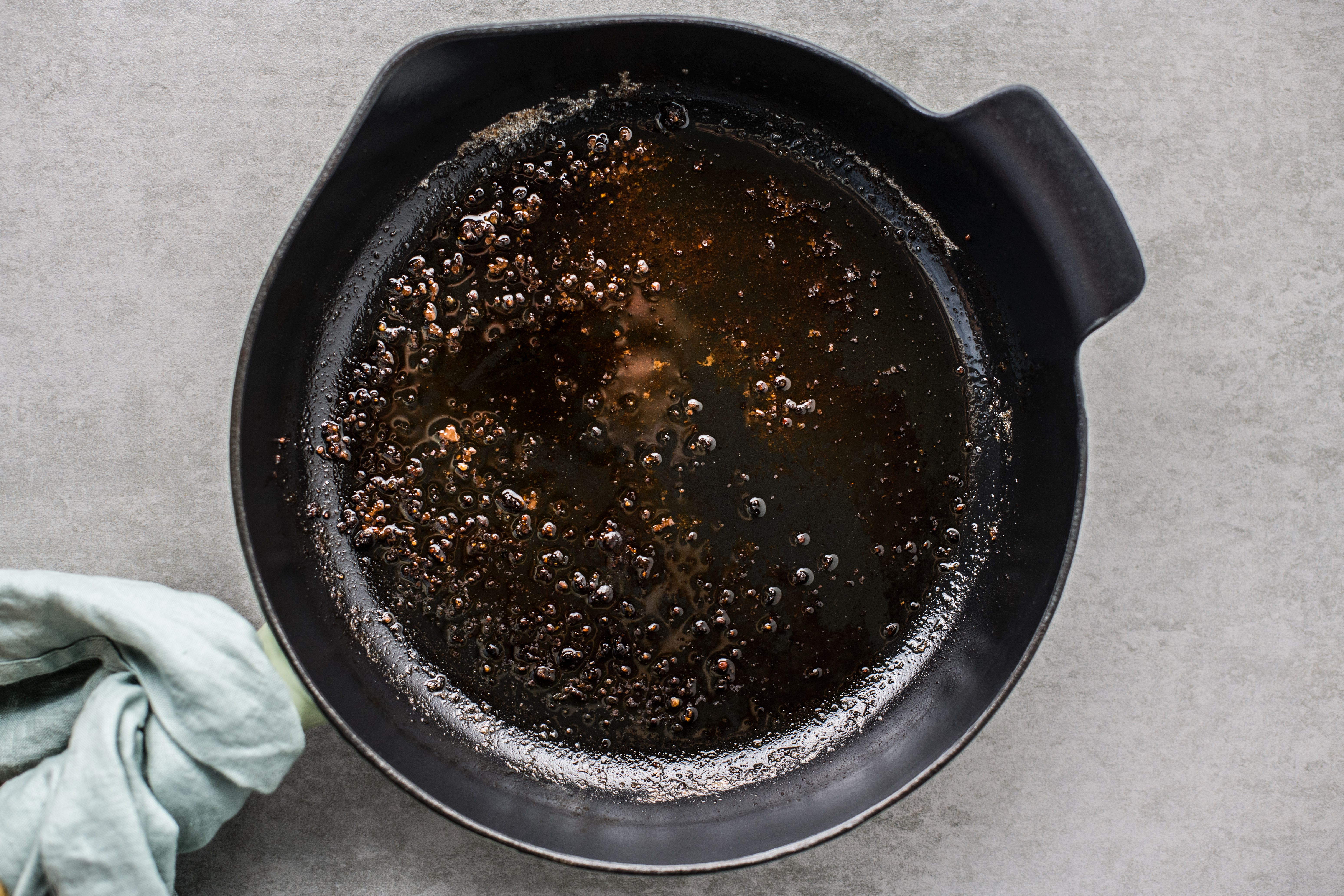 Pan with drippings and fat