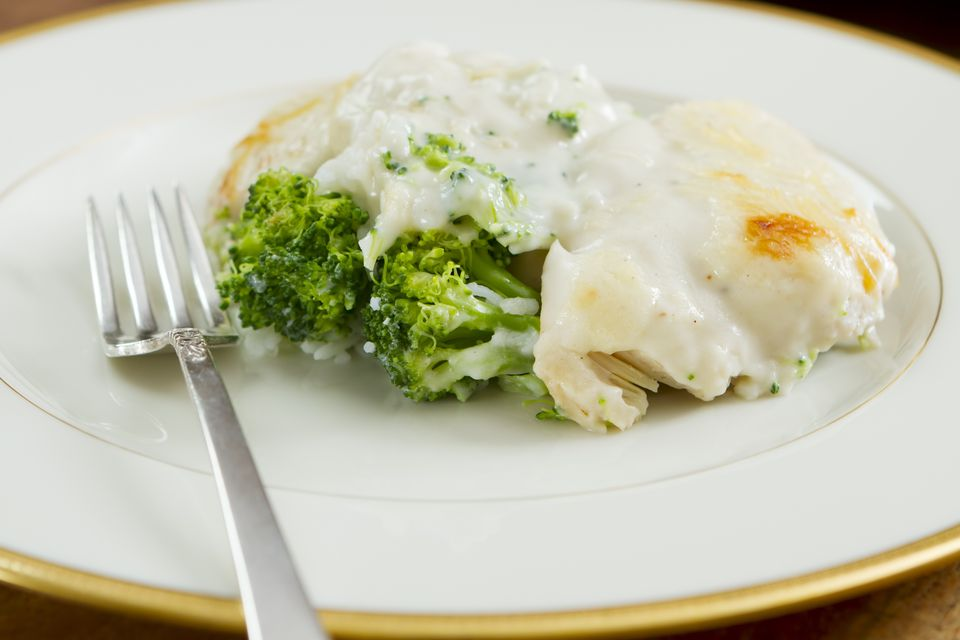 Chicken in a cream sauce with Broccoli and Rice