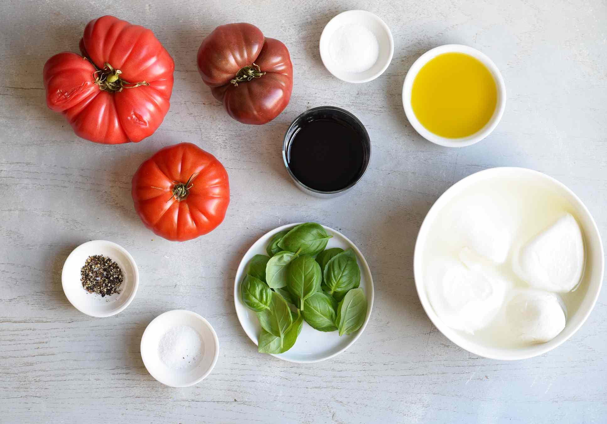 caprese salad ingredients on a board