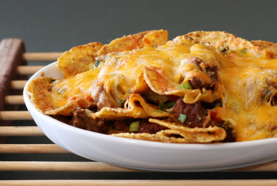 Beef and refried bean nachos