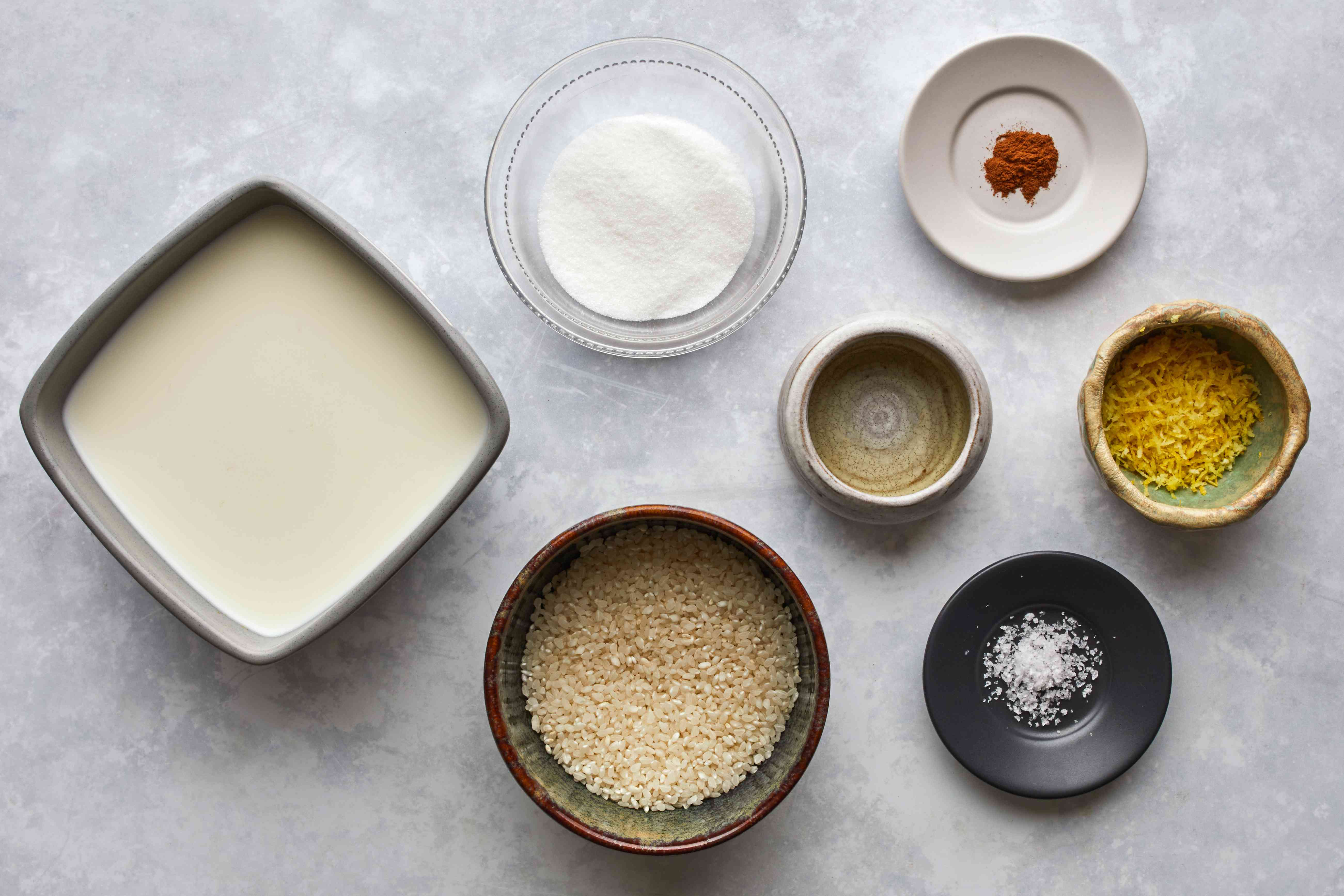 Ingredients for vanilla rice pudding