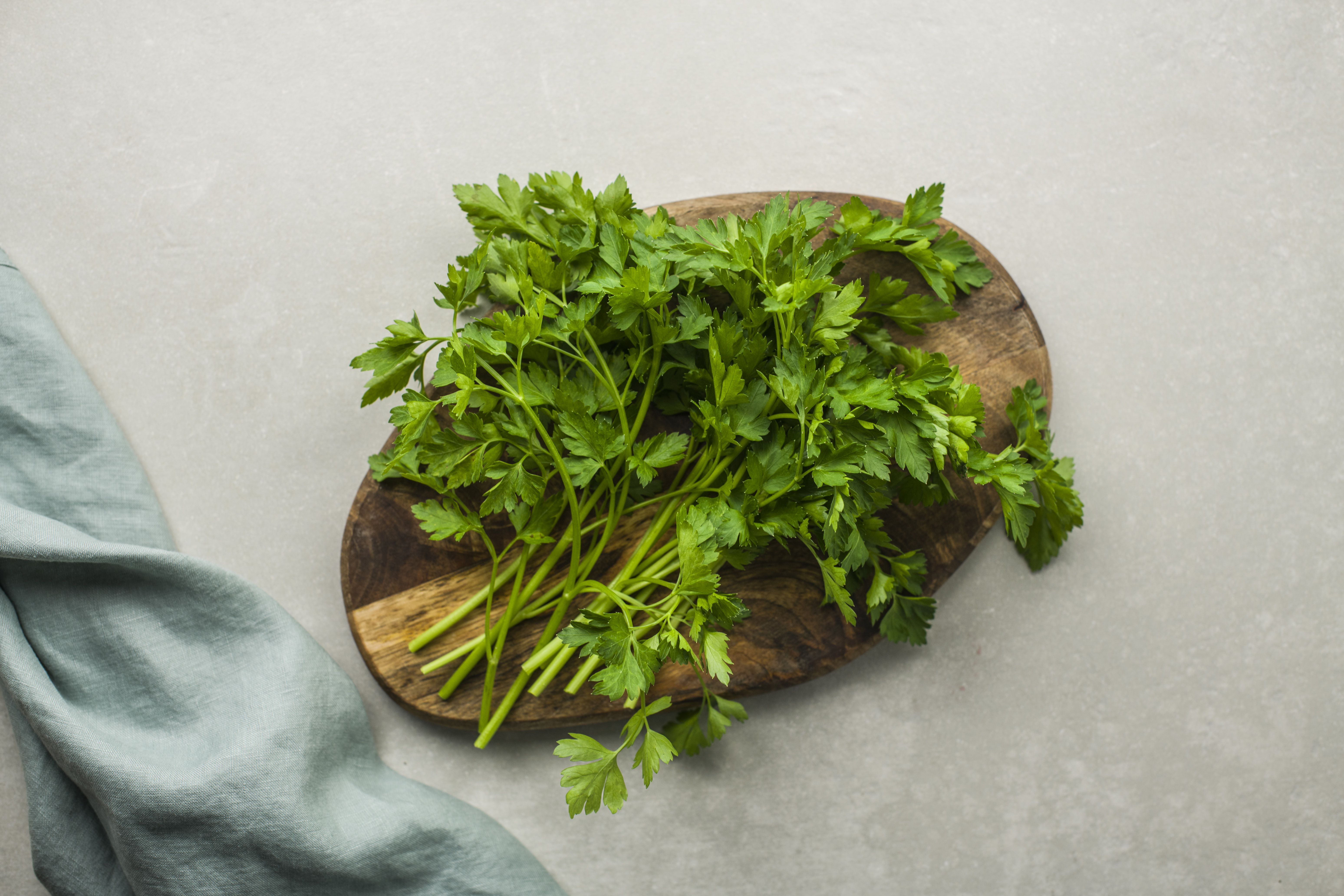 Wash and dry parsley