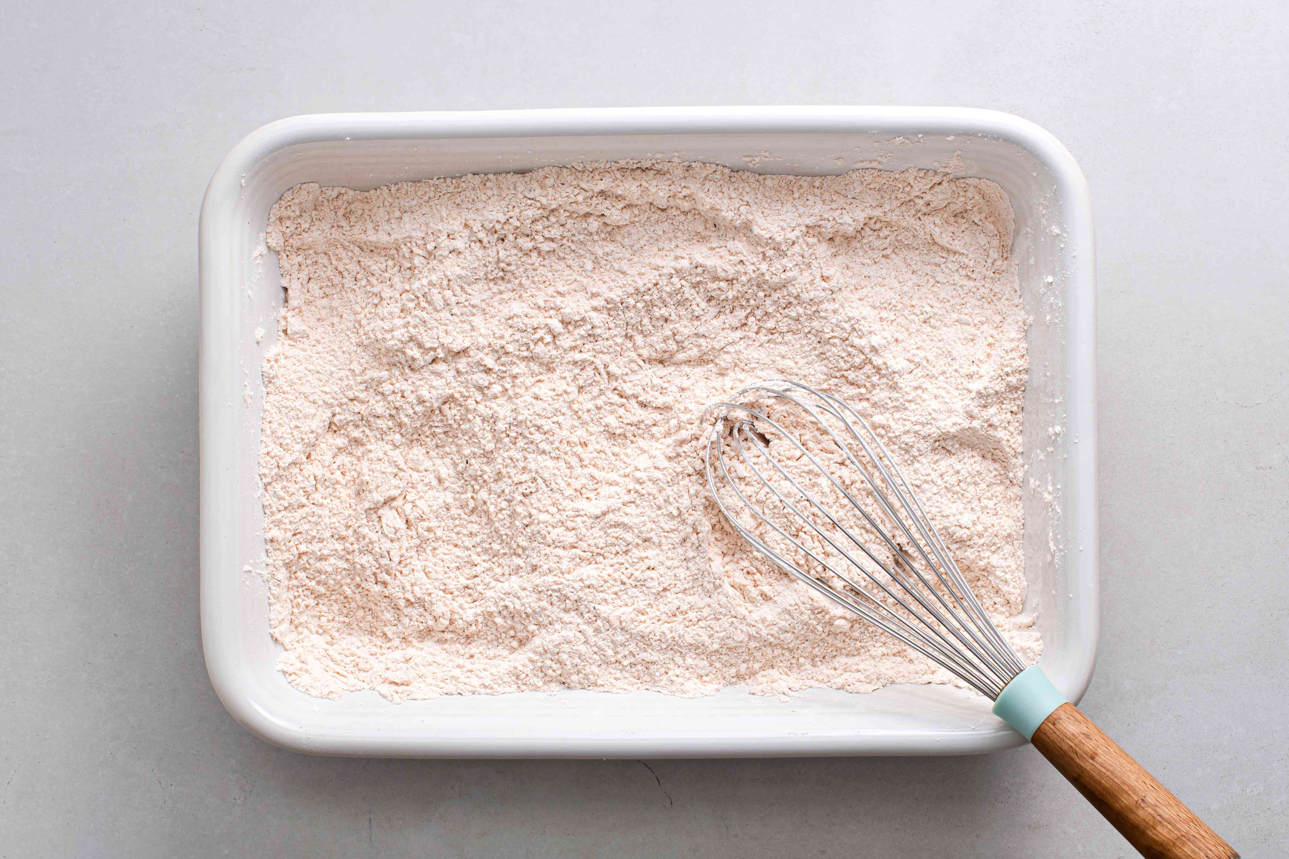 seasoned flour in a baking dish