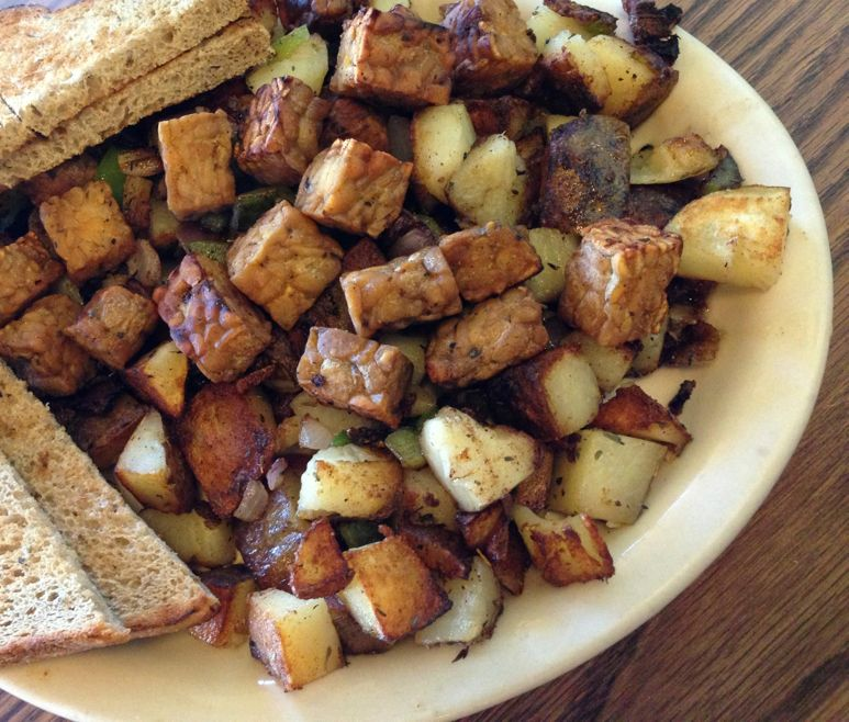 Tempeh hash - a great high-protein breakfast idea!