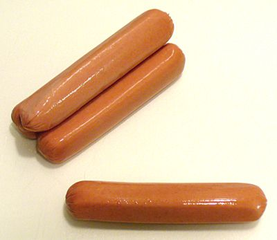 Four whole hot dogs