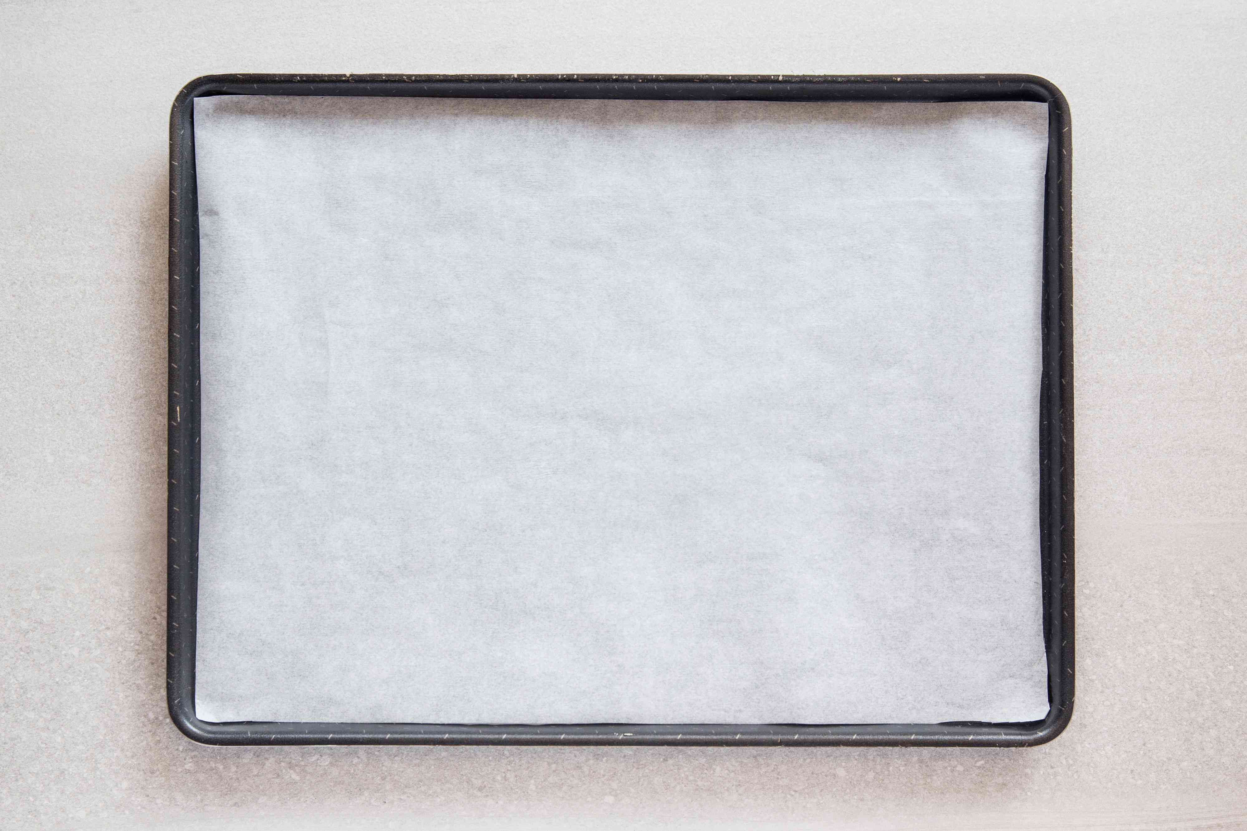 Baking sheet lined with parchment paper