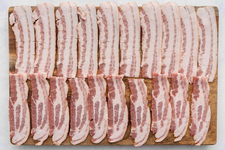 Bacon strips cut in half to make 20 shorter strips