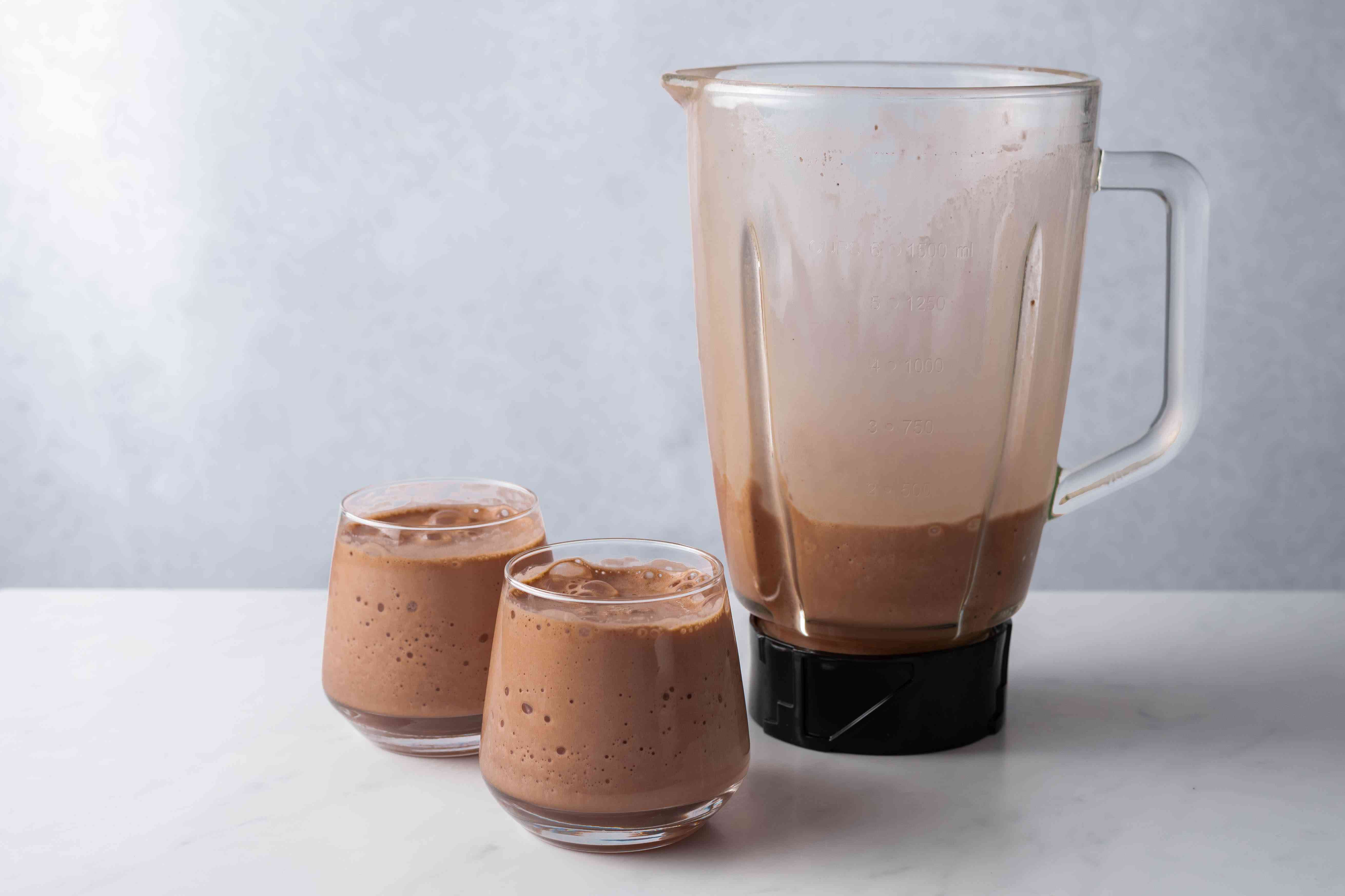 Chocolate Coffee Protein Shake poured into glasses
