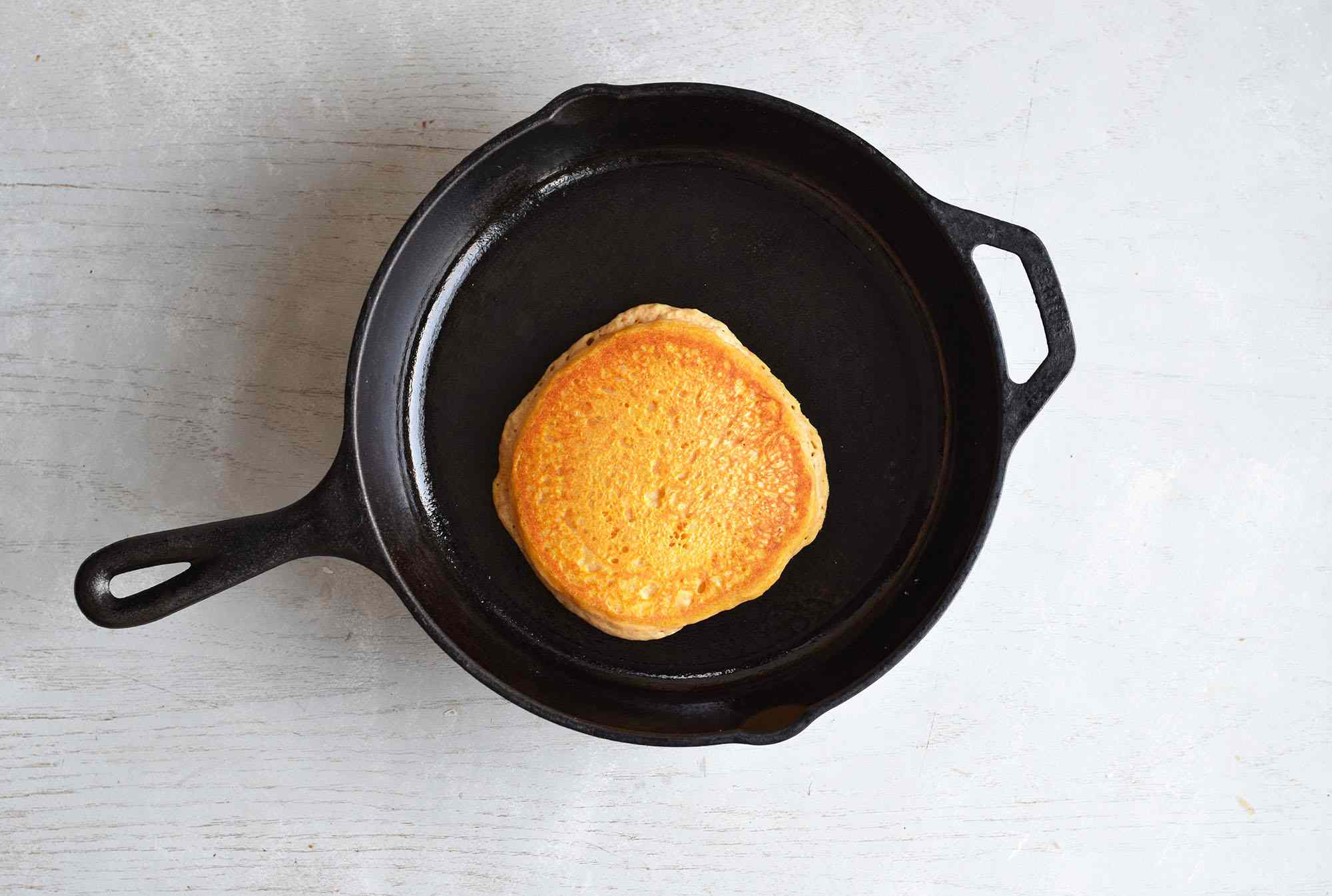 pumpkin pancakes cooked in a pan