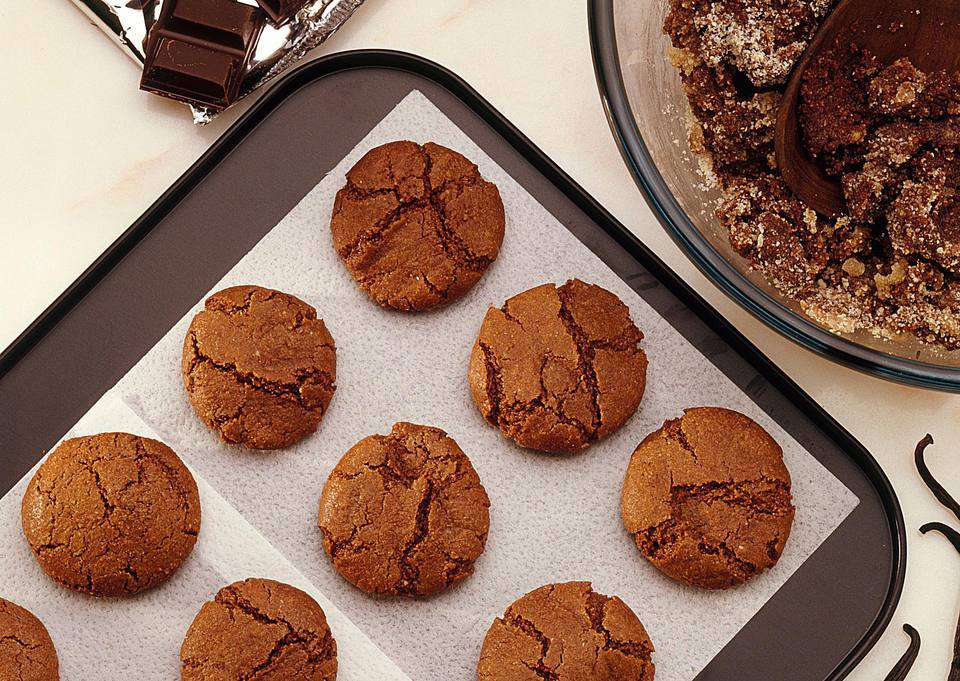 Gluten-free chocolate almond macaron cookies right from the oven