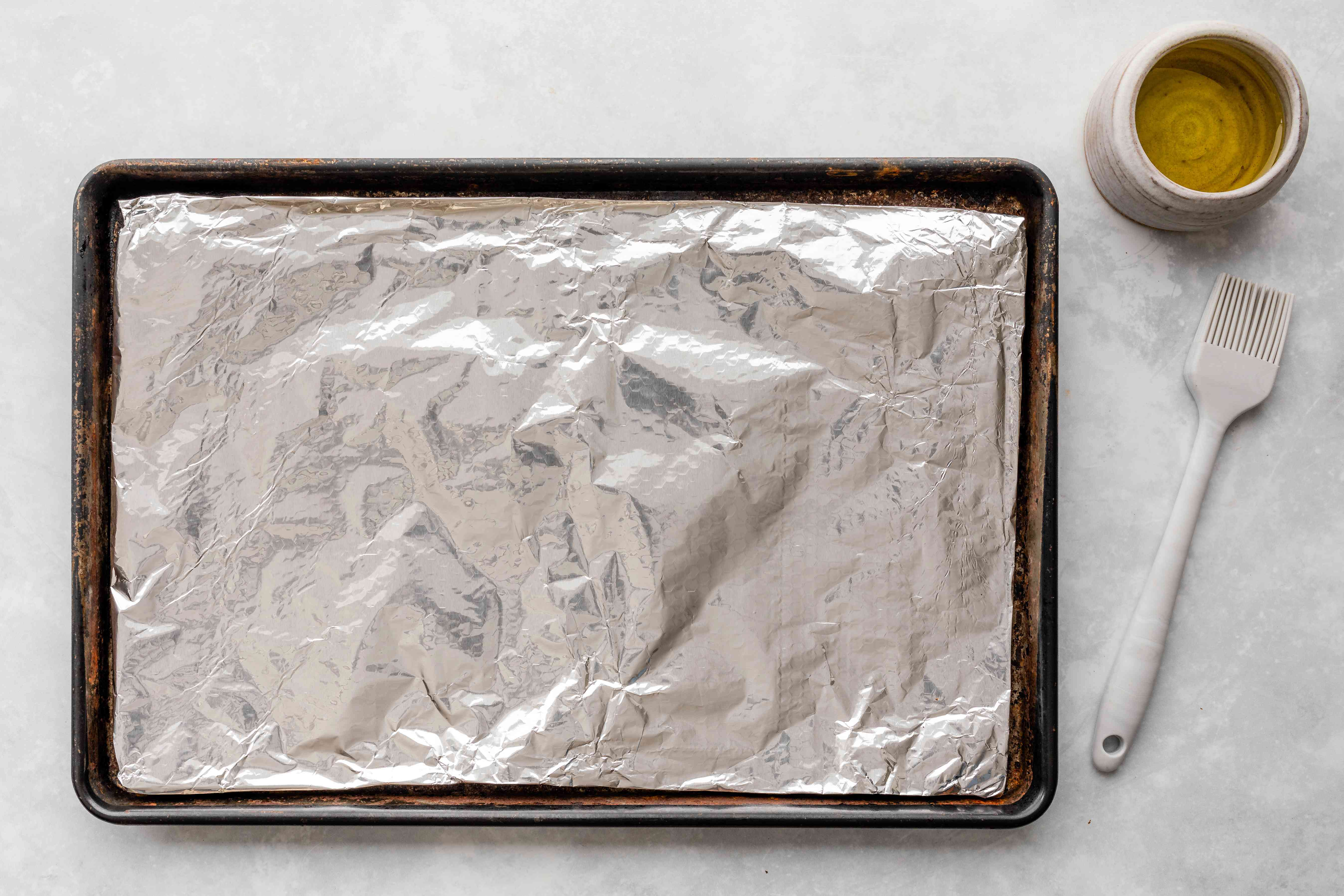 Line a pan with foil