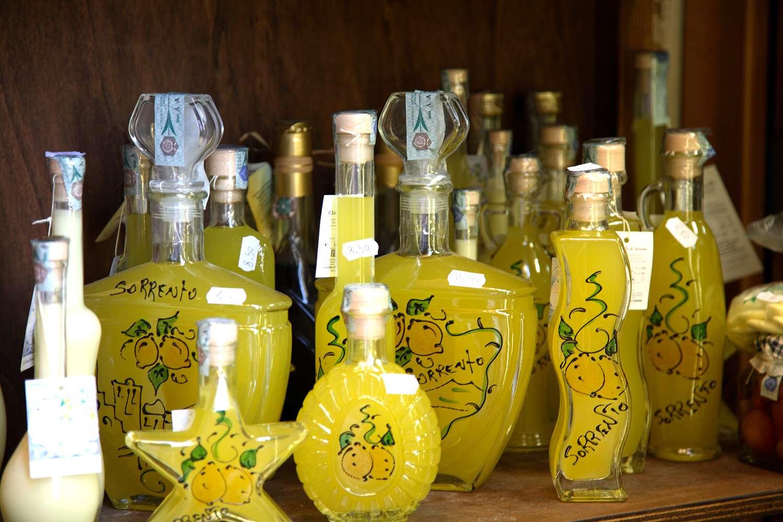 Bottles of limoncello. Sorrento, Campania, Italy, Europe