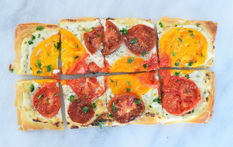 Heirloom Tomato and Ricotta Phyllo Tart