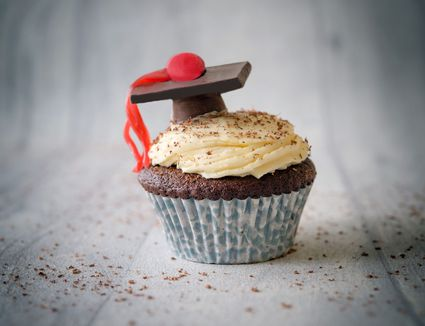 Cupcakes topped with edible graduation caps