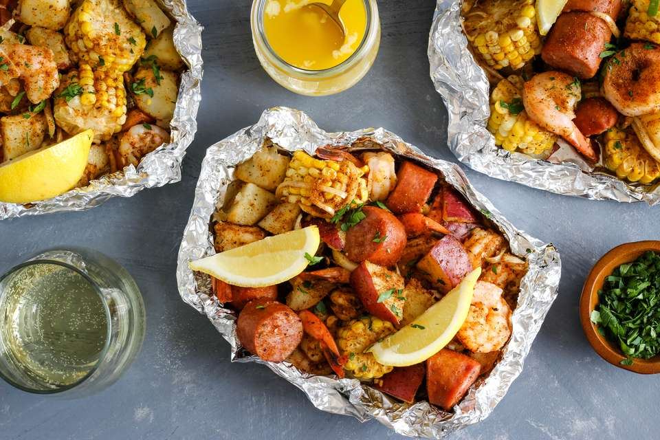 Shrimp boil foil packs recipe