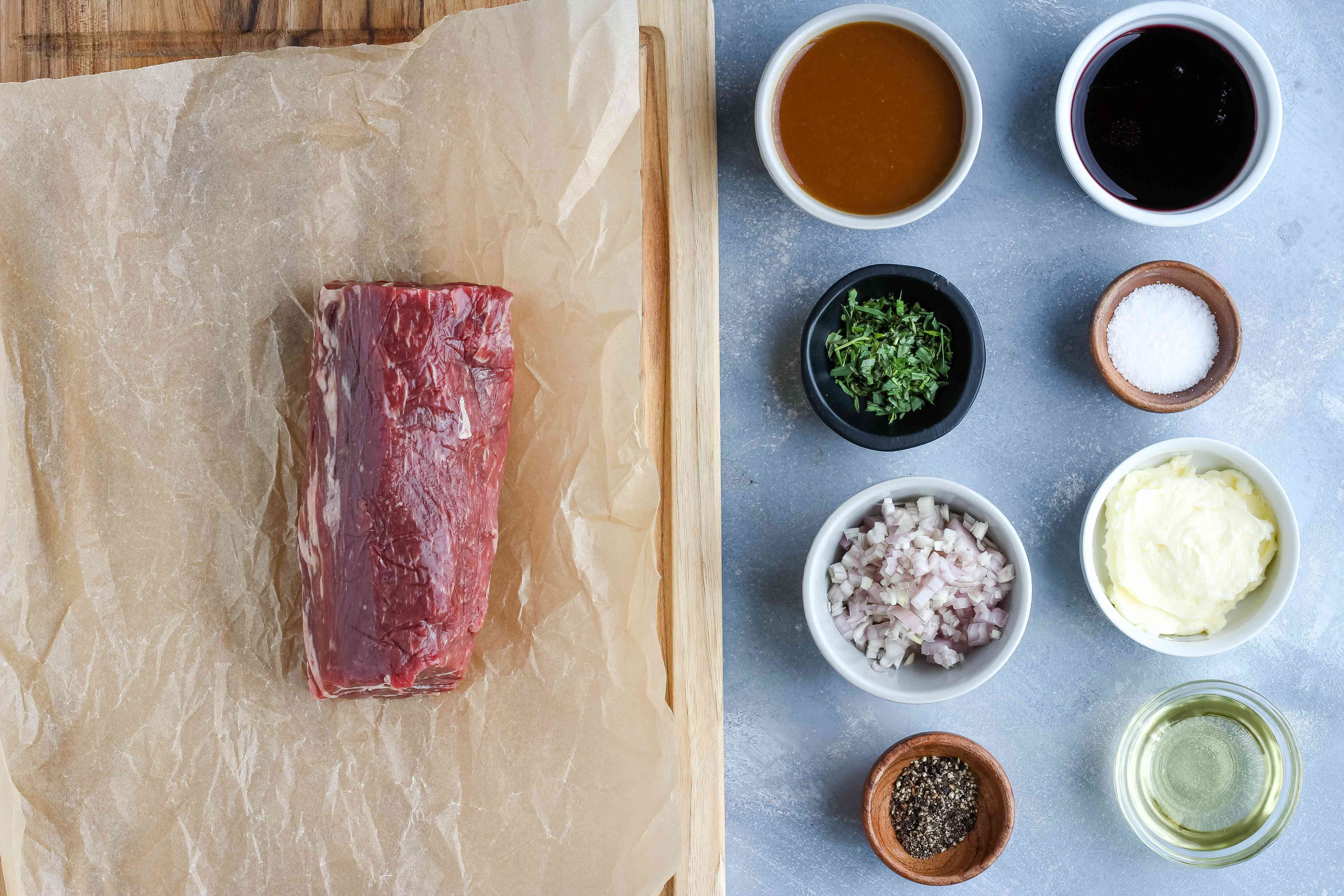 Ingredients for making a classic French chateaubriand