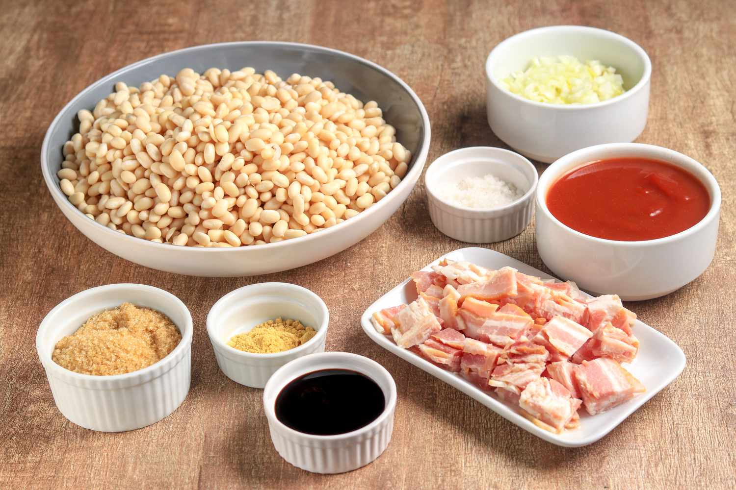 Homemade baked beans ingredients