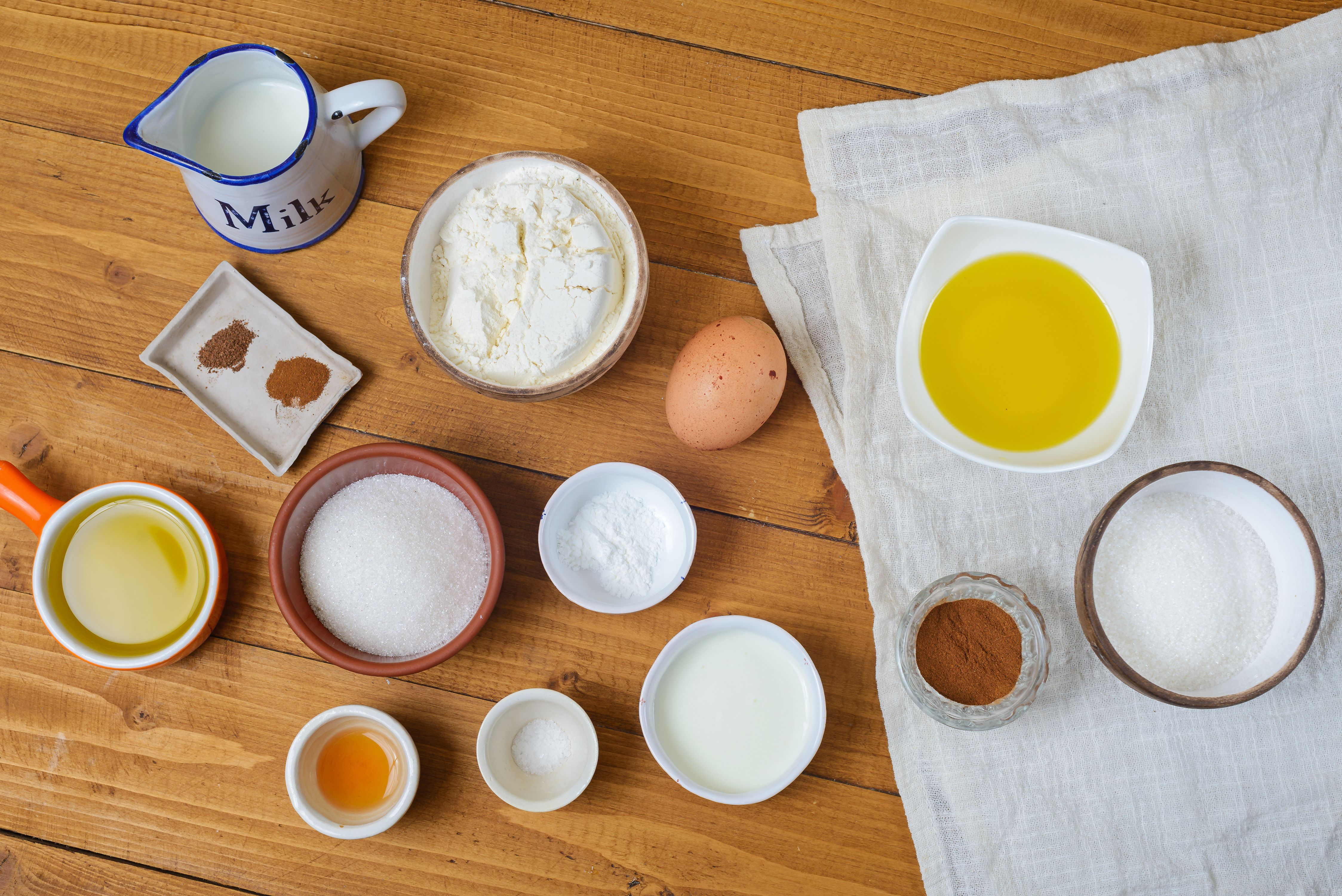 Ingredients for olive oil doughnuts