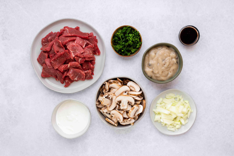 Easy Crock Pot Beef Stroganoff ingredients