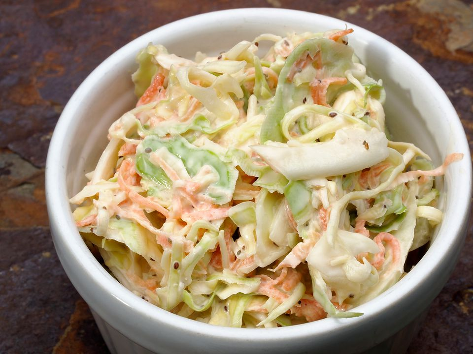 Coleslaw on stone counter