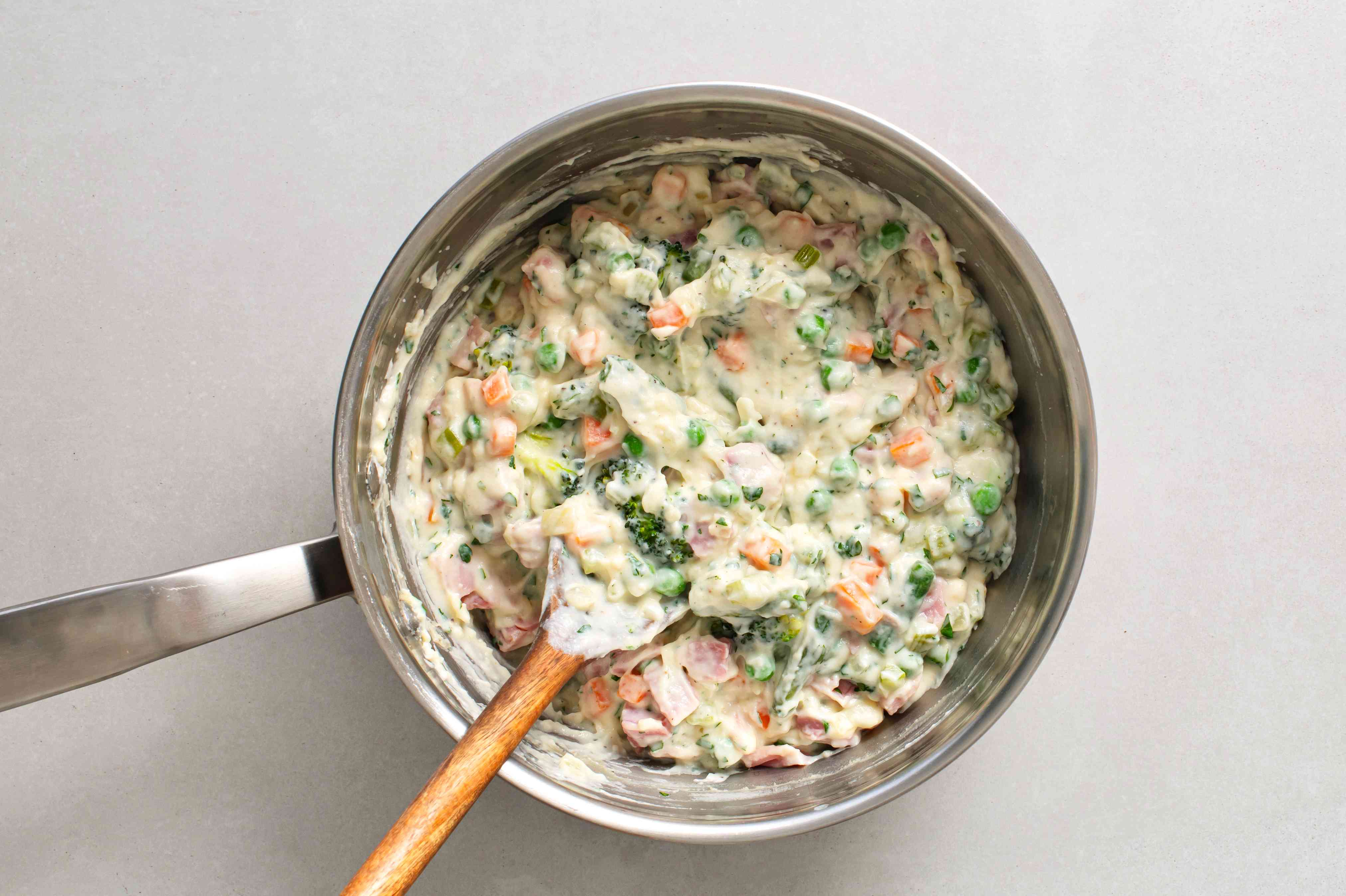 add the parsley and the ham pieces to the mixture in the saucepan