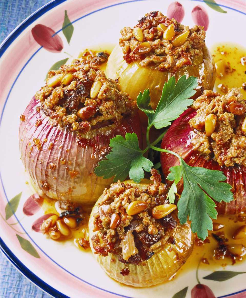 A plate of stuffed onions