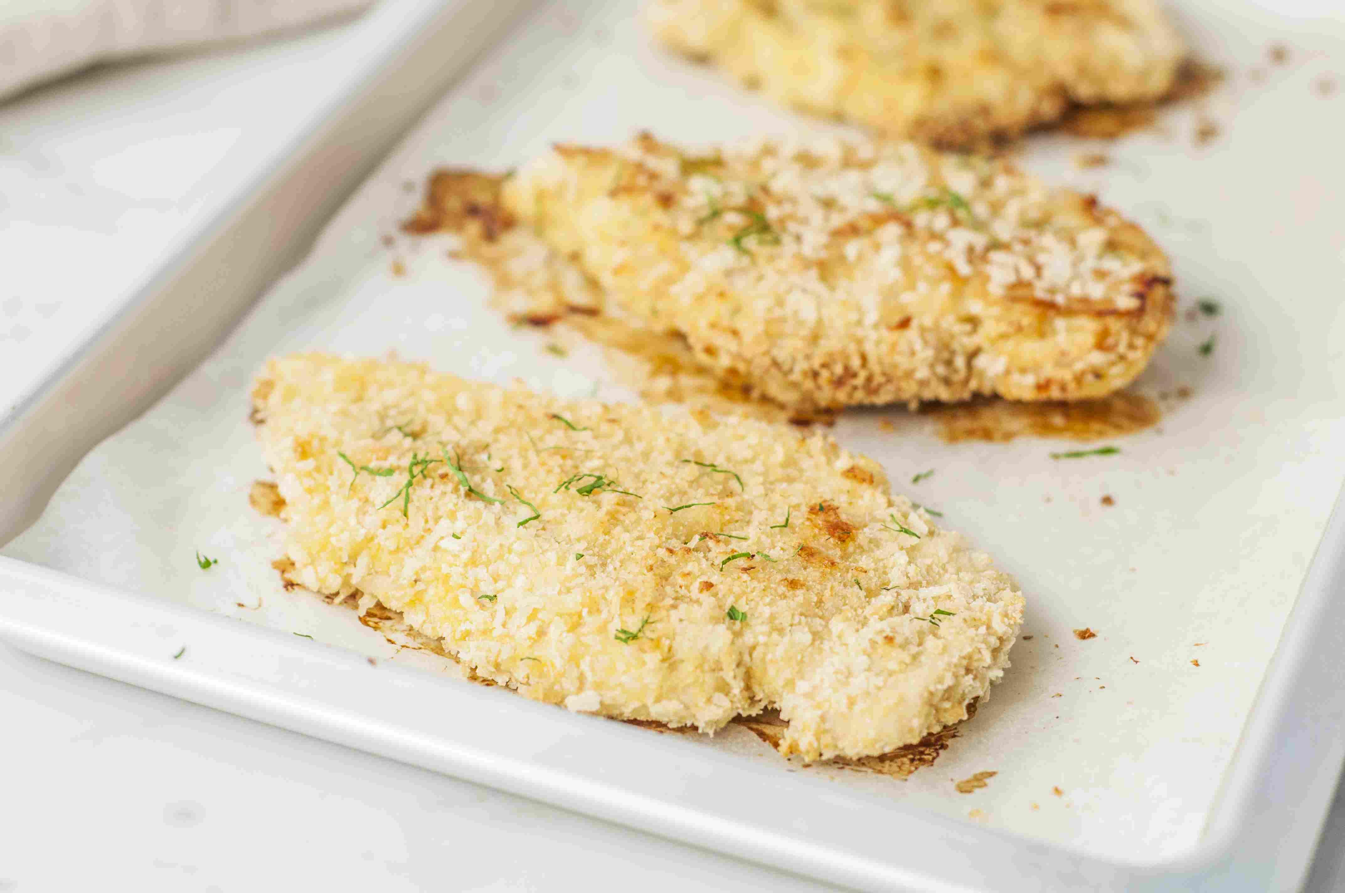 Baked breaded chicken breasts