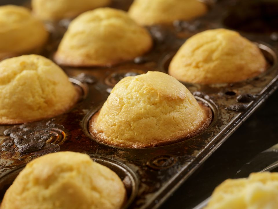Corn Bread Muffins in Baking Tin