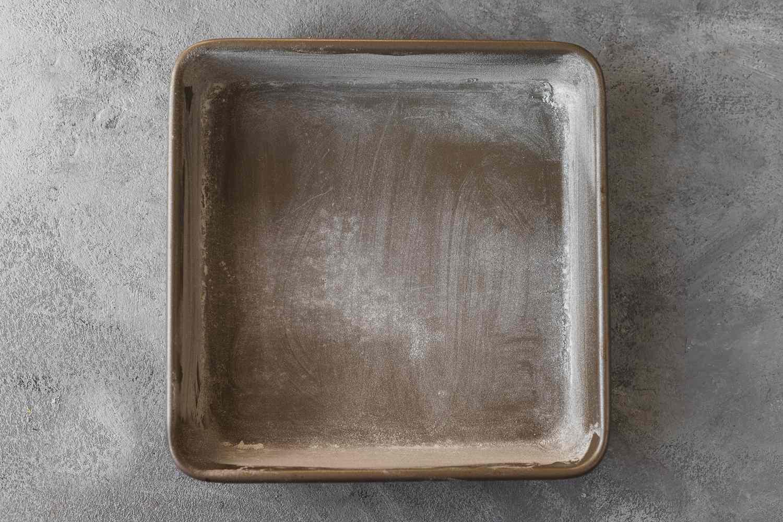 greased cake pan