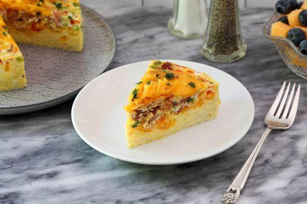 slice of instant pot breakfast casserole