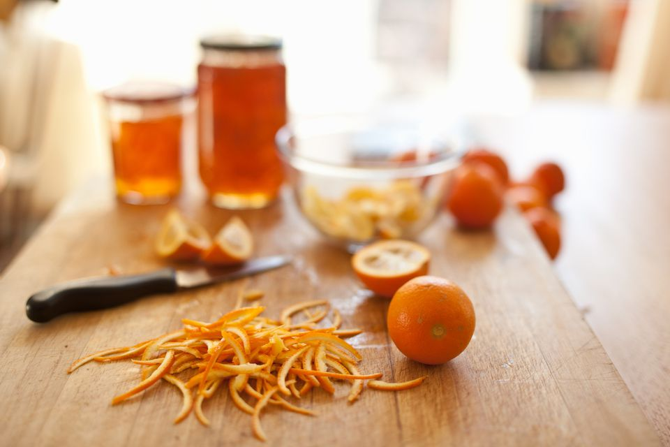 Making marmalade in a domestic kitchen.