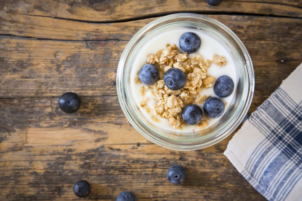 Yogurt with granola and blueberries