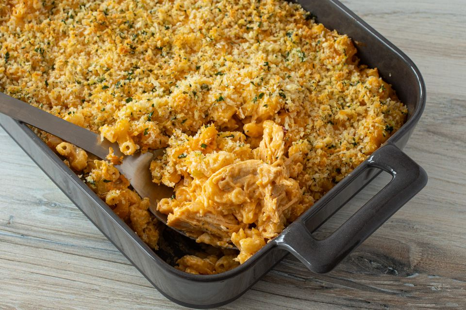 buffalo chicken macaroni and cheese in a baking dish