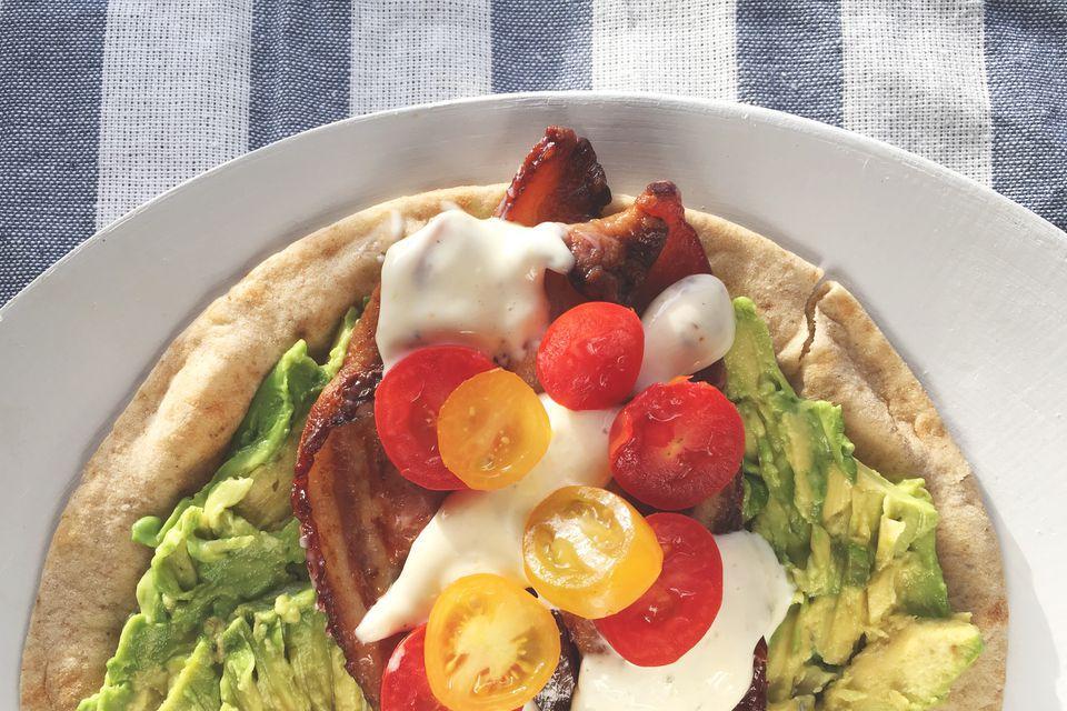 """Tomato, Bacon, Avocado + Guilt-Free """"Ranch"""" Wrap Recipe"""