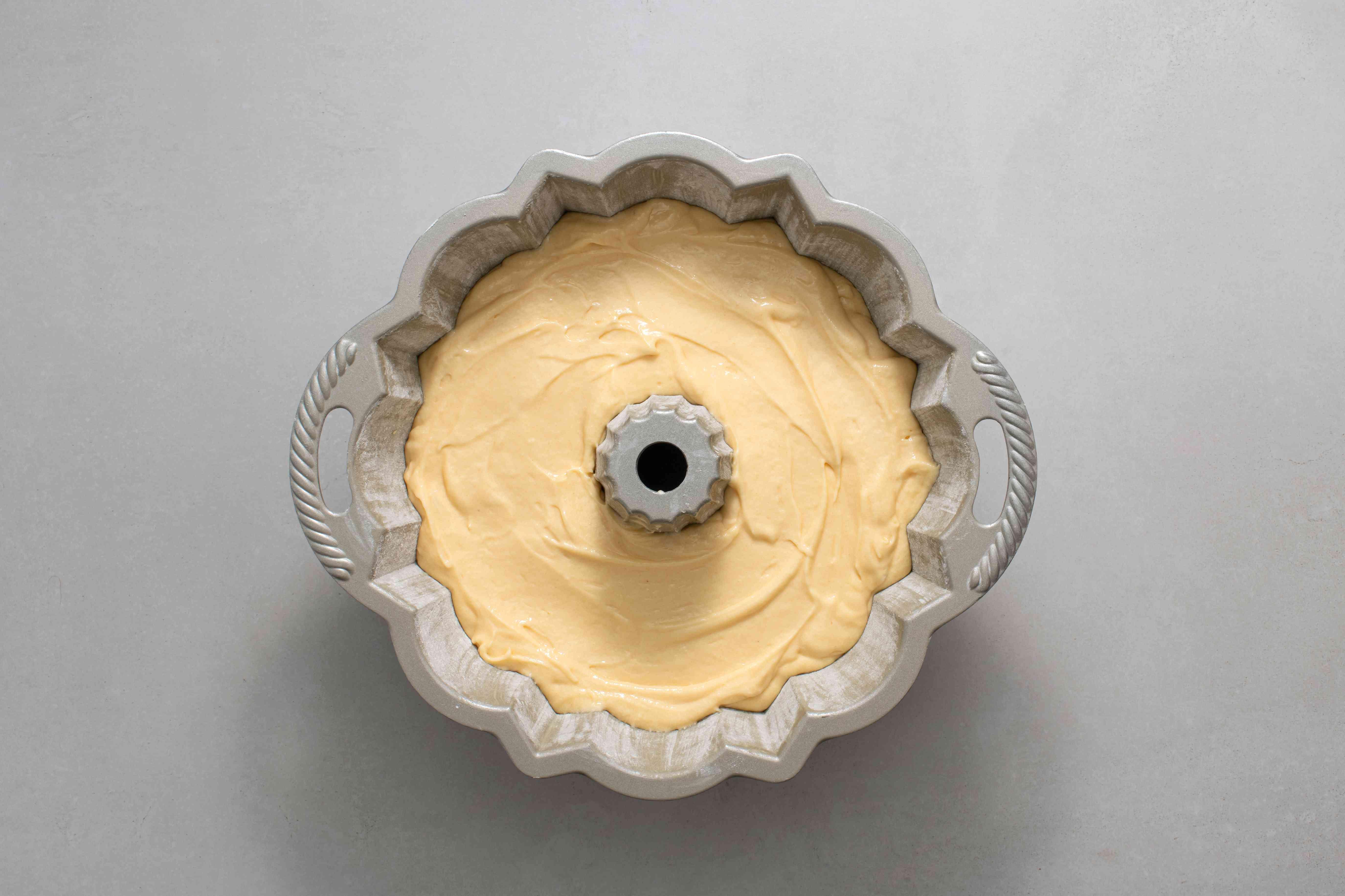 batter in a cake pan