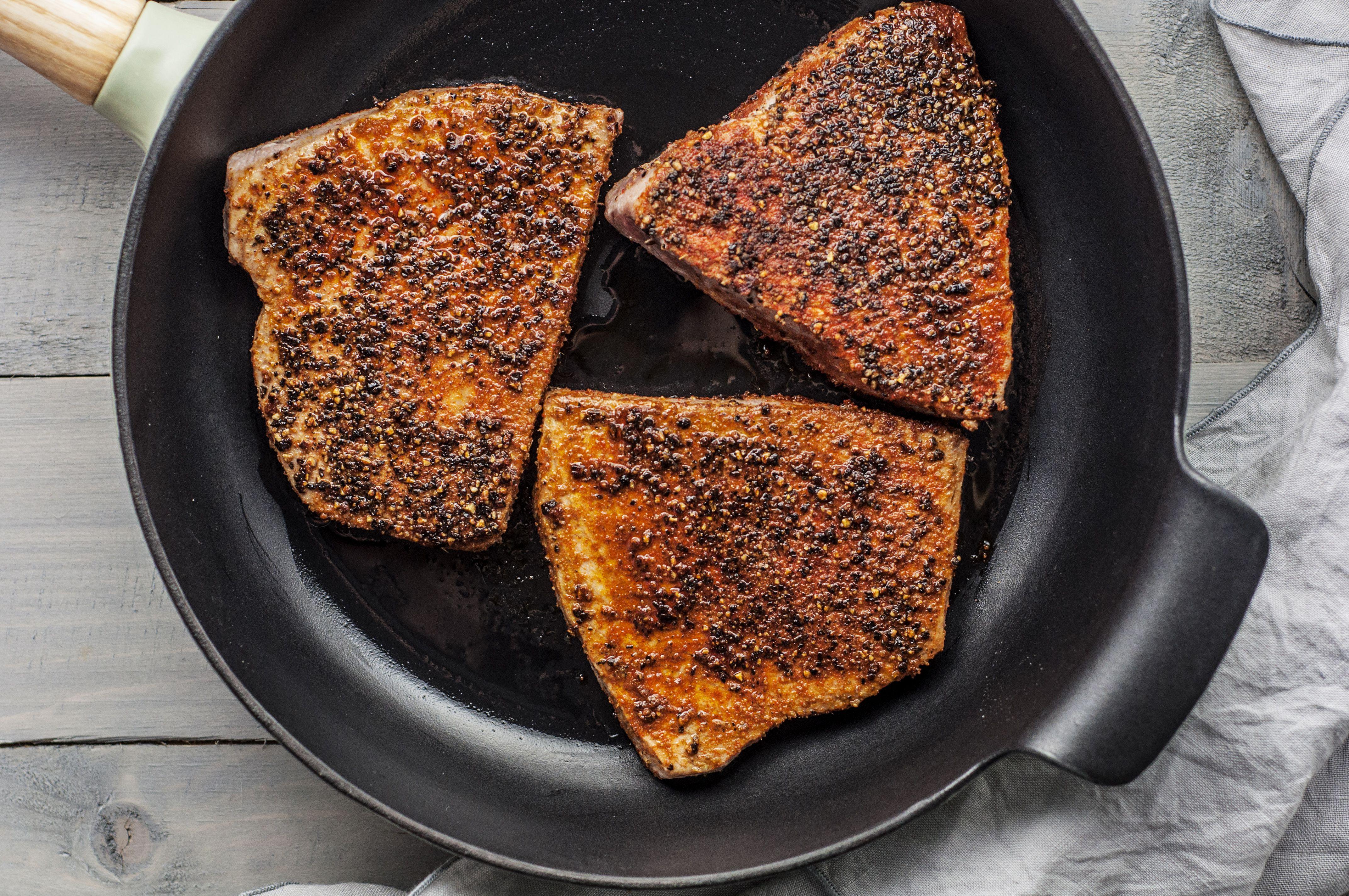 Pan-Seared Sesame-Crusted Tuna Steaks | Americas Test Kitchen