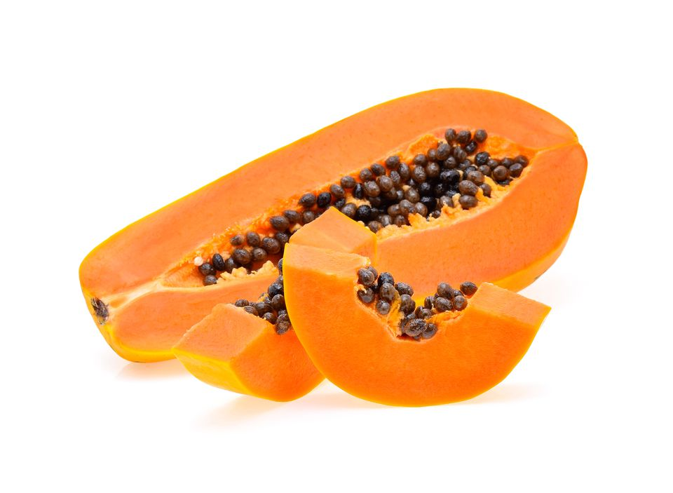 A sliced up papaya