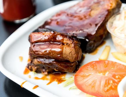 Barbecue sauce on ribs